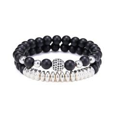 Rinhoo 2pc/sets Natural Stone Bracelet Beads Bangles Micro Pave CZ 6mm Disco Ball Charms Beaded Bracelets For Women Men Jewelry Bracelet 6