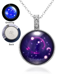 Twelve Constellation Time Gemstone Pendant Luminous Necklace Leo
