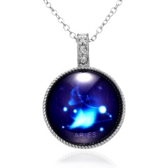 Twelve Constellation Time Gemstone Pendant Luminous Necklace Aries