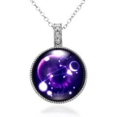 Twelve Constellation Time Gem Pendant Luminous Necklace Leo