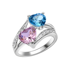 Double Heart Zircon Ring Pink Double Heart