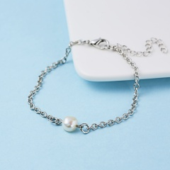 Rinhoo 1PC Simple 8mm Simulated Pearl Pendant Link Chain Bracelet For Women's Fashion Jewelry Gift Pearl