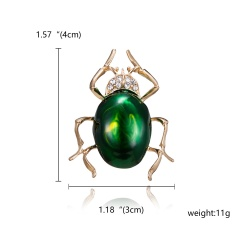 Crystal Cartoon Bee Butterfly Brooch New Cute Enamel Silkworm Beetle Animal Insect Rhinestone Painting Oil Brooch for Women Jewelry Green beetle