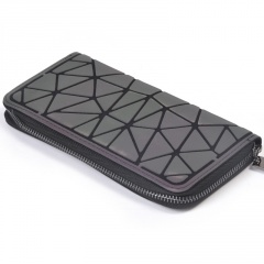 Charm Luminous Women Square Zipper Wallets Geometric Lattice Purse Card Hold BG17Y006M8-1