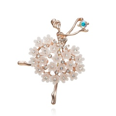 Rinhoo Daning Girl Swan Lake Factory Direct Sale Ballet Dance Girls Shinning Crystal Glass Brooches for Woman in assorted designs Dancing girl 4