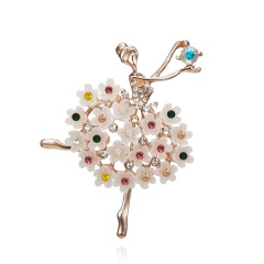 Rinhoo Daning Girl Swan Lake Factory Direct Sale Ballet Dance Girls Shinning Crystal Glass Brooches for Woman in assorted designs Dancing girl 5