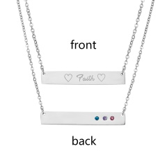 Faith Lttering Horizontal Necklace Personalized Engraved Sliver