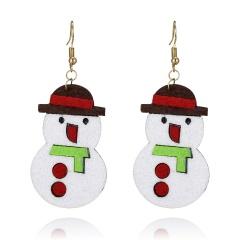Cute Cartoon Deer Snowman Bells Santa Claus Earrings for Women Fashion Handmade Creative Christmas Gift Jewelry Female Brincos Snowman
