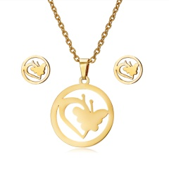 Jewelry Set Stainless Steel Womens Gold/Silver Pendant Necklace Earrings Gifts Round butterfly