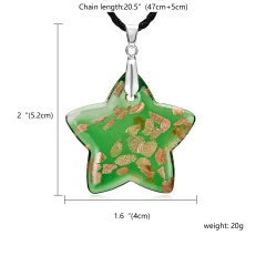 Women Fashion Colorful Star Glass Pendant Necklace Sweater Chain Jewelry Gift Green