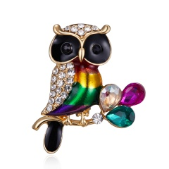 Women's Owl Alloy Trendy Crystal Rhinestone Colorful Brooch Pins Badge Gifts Owl 1