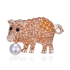 Gold Crystal Imitation Pearl Pig Rabbit Cat Brooch for Women Jewelry Rhinestone Animal Brooches Pin Collar Corsage Pet Badges Gift Pig 2