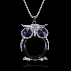 Rhinestone Crystal Owl Animal Pendant Necklace Long Sweater Chain Lady Jewellery Black