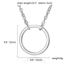 Fashion Silver Round Circle Pendant Necklace Chic Jewelry Costume Party Gift New Silver Round(No Card))