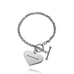 RINHOO Stainless Steel Heart Strip Personalized Custom Bracelet For Women Jewelry Sided Engraved Name Letters Word Cuff Bracelet Chain Silver Heart