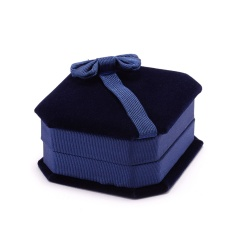 Octagonal Bowknot Jewelry Necklace Packaging Box Blue(8*7*3cm)