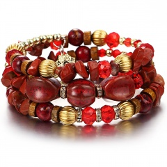 RINHOO Bohemian Natural Stone Beads Bracelets for Women Vintage Crystal Tibetan Ethnic Beaded Wrap Charm Bracelet Bangle Jewelry Red