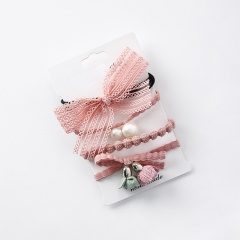 Fashion 4 Pcs Hair Ponytail Elastic Band Rope Scrunchie Hair Accessories Gift Pink
