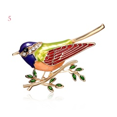 Rhinestone Colorful Enamel Oriole Bird Branch Brooch Pins Men Women's Alloy Bird Brooches For Suits Dress Banquet Brooch Gift bird2