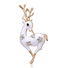Fashion Cute Christmas Deer Rhinestone Women Brooch Pin Clothes Accessories Girls Gifts Animal Pins Jewelry White