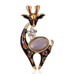 Rinhoo 1pc Rhinestone Wreath Elk Deer Head Brooch Enamel Metal Christmas Brooches Winter Coat Clothes Badge Jewelry for Women Elk 3