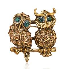 Women's Owl Turtle Dog Animals Rhinestone Gold Brooch Pins Gifts Owl