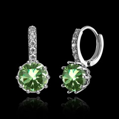 Elegant Fashion Round Zircon 925 Silver Earrings For Wedding Party Gifts Light Green