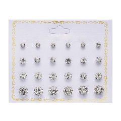 12 Pairs/Set Round Zircon Paper Card Earrings Set Style-1