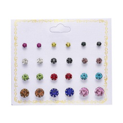 12 Pairs/Set Round Zircon Paper Card Earrings Set Style-2