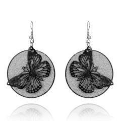 Bohemian Geometric Jewelry Wings / Leaves / Butterfly Hollow Frosted Earrings Butterfly