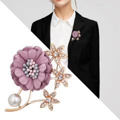Handmade Cloth Lace Pearl Rhinestones Fabric Flower Brooch Cardigan Sweater Crystal Brooch Purple
