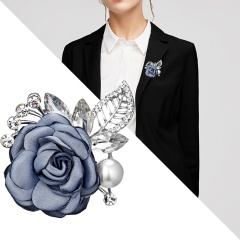 Handmade Cloth Lace Pearl Rhinestones Fabric Flower Brooch Cardigan Sweater Crystal Brooch Blue