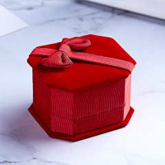 Octagonal Bowknot Jewelry Packaging Ring Box Red