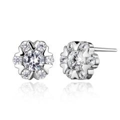 Fashion Jewelry Bowknot Snowflake Shape Crystal Zircon Silvel Stud Earrings Snowflake