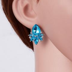 Classical Crystal Flower Earrings Waterdrop Earrings Wedding Party Women Jewelry light blue