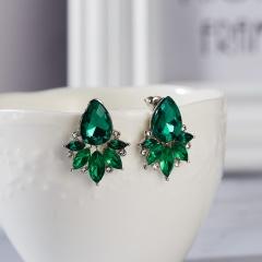Classical Crystal Flower Earrings Waterdrop Earrings Wedding Party Women Jewelry green