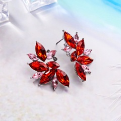 Crystal Diamond Wing Stud Earring for Women Girl Wedding Party Jewelry red