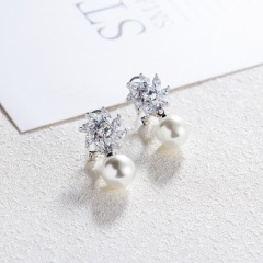 Cute Crystal Flower Imitation Pearl Dangle Ear Clip Women Party Jewelry flower pearl