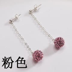 Fashion Long Earring Clay Bead With Stone 5 Colors Stud Earrings Jewelry For Women Pink