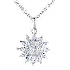 925 Silver Chic Women Sun Flower Zircon Pendant Necklace Chain  Jewelry Gifts Silver