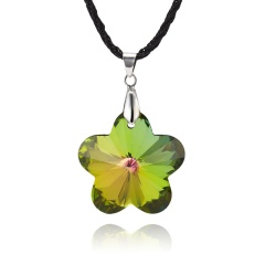 Fashion Peach Blossom Crystal Necklace Jewelry colorful