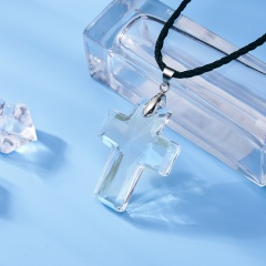 Fashion Transparent Crystal Cross Necklace Pendant Leather Jewelry Party Women Gift Cross