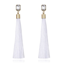 Square Crystal Tassel Stud Earrings White