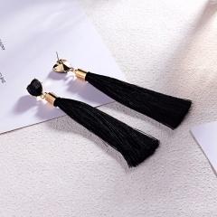 1Pair Fashion Heart Tassel Drop Dangle Charms Earrings Women Jewelry Black
