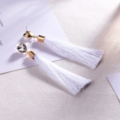Heart Shaped Crystal Tassel Stud Earrings White