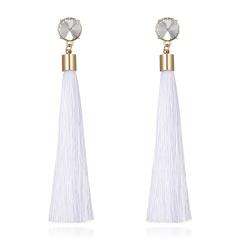 Women Black Long Tassel Crytstal Pearl Earrings Ear Stud Party Chic Jewlery Gift White