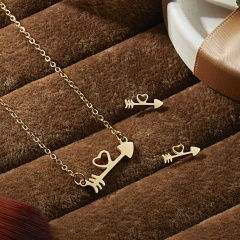 Fashion Smile Stainless Steel Necklace Earrings Jewelry Set Family Gift Party Heart