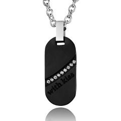 Men's With Kiss Titanium Steel Couple Necklace Black
