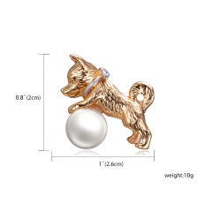 Rinhoo Cute Small Dog Brooches for Women and Kids Enamel Animal Brooch Pin Coat Dress Accessories Bijouterie Broches Gift Gold