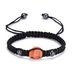 RINHOO Skull Head Braided Bracelet Macrame Charm Wrap Cord Stones Beaded Bracelets Bangles Vintage Rope Jewelry For Men Women Orange